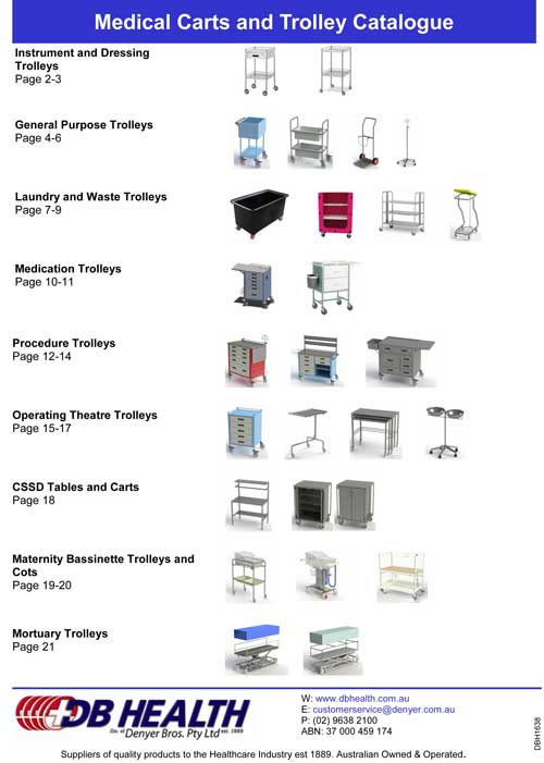 DBH1638 Medical Carts Trolleys Catalogue DBH1628 to DBH1637 1